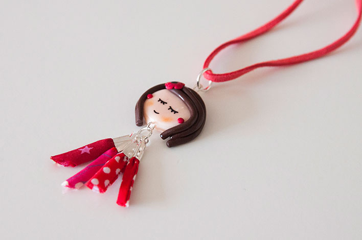 collier girly rouge fimo