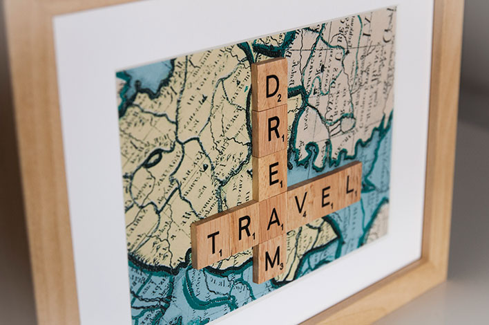 cadre déco scrabble travel dream